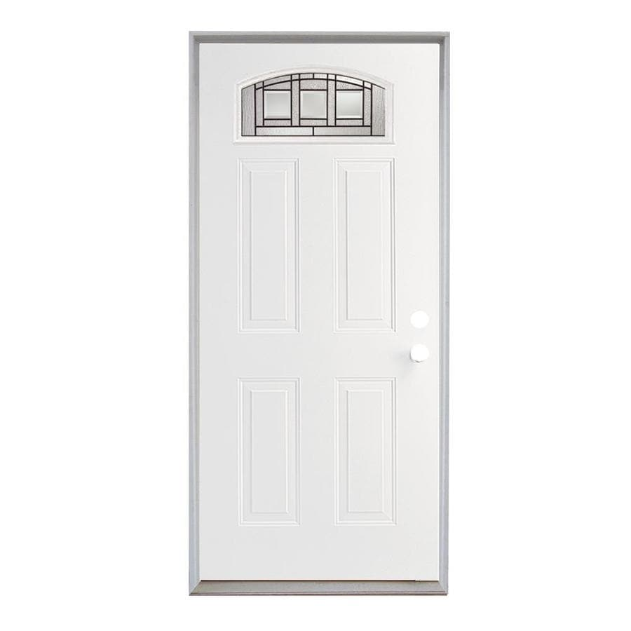 ReliaBilt Craftsman Glass French Insulating Core Morelight Left-Hand Inswing Steel Primed Prehung Entry Door (Common: 36-in x 80-in; Actual: 37.5-in x 81.75-in)