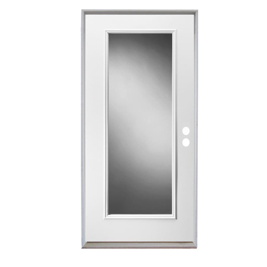 ReliaBilt Full Lite Clear Glass Left Hand Inswing Primed Steel Prehung Entry  Door With Insulating