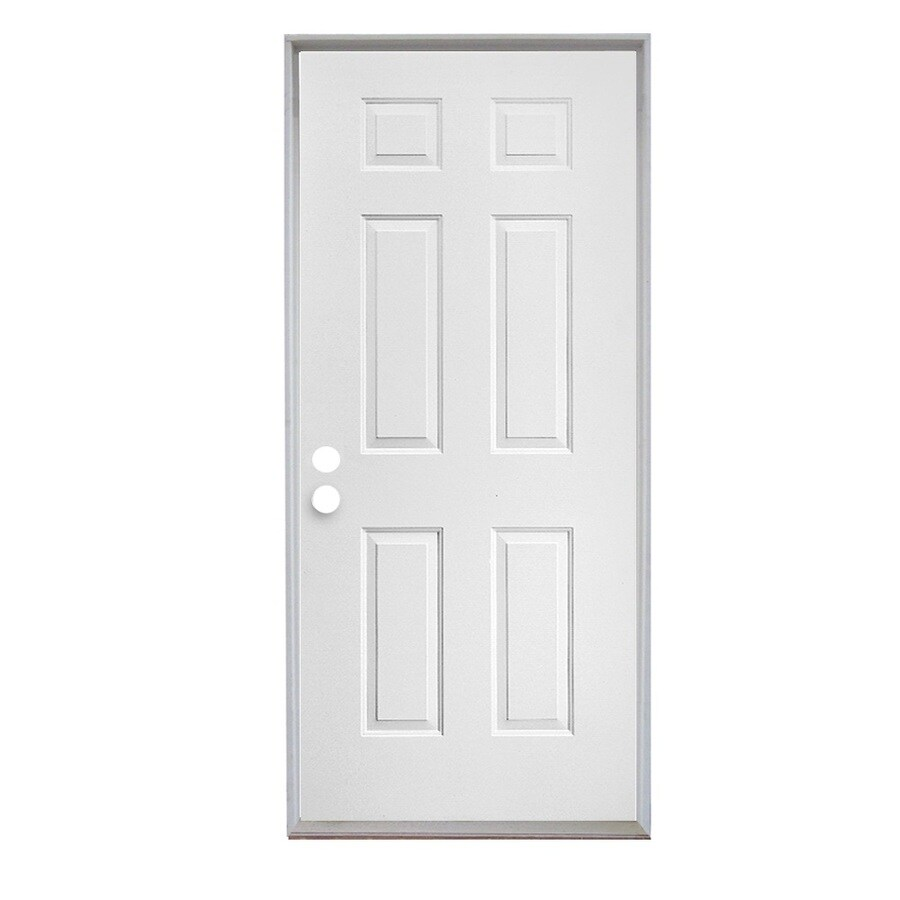 ReliaBilt 6-Panel Insulating Core Right-Hand Inswing Steel Primed Prehung Entry Door (Common: 30-in x 80-in; Actual: 31.5-in x 81.75-in)