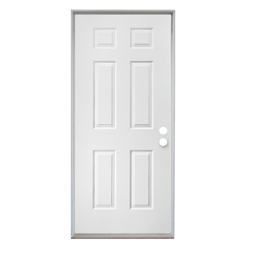 ReliaBilt 6-Panel Insulating Core Left-Hand Inswing Steel Primed Prehung Entry Door (Common: 30-in x 80-in; Actual: 31.5-in x 81.75-in)