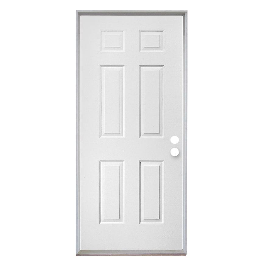 ReliaBilt 6-Panel Insulating Core Left-Hand Inswing Steel Primed Prehung Entry Door (Common: 30-in x 80-in; Actual: 31.5-in X