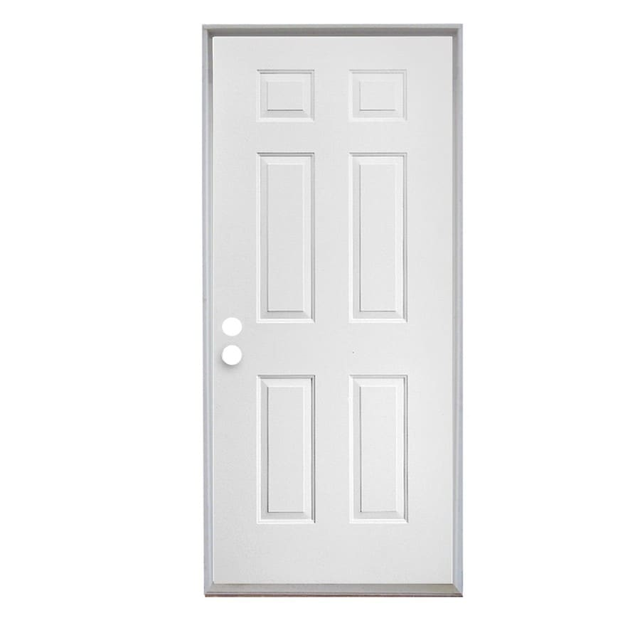 ReliaBilt 6-Panel Insulating Core Right-Hand Outswing Steel Primed Prehung Entry Door (Common: 32-in x 80-in; Actual: 33.5-in x 81.75-in)