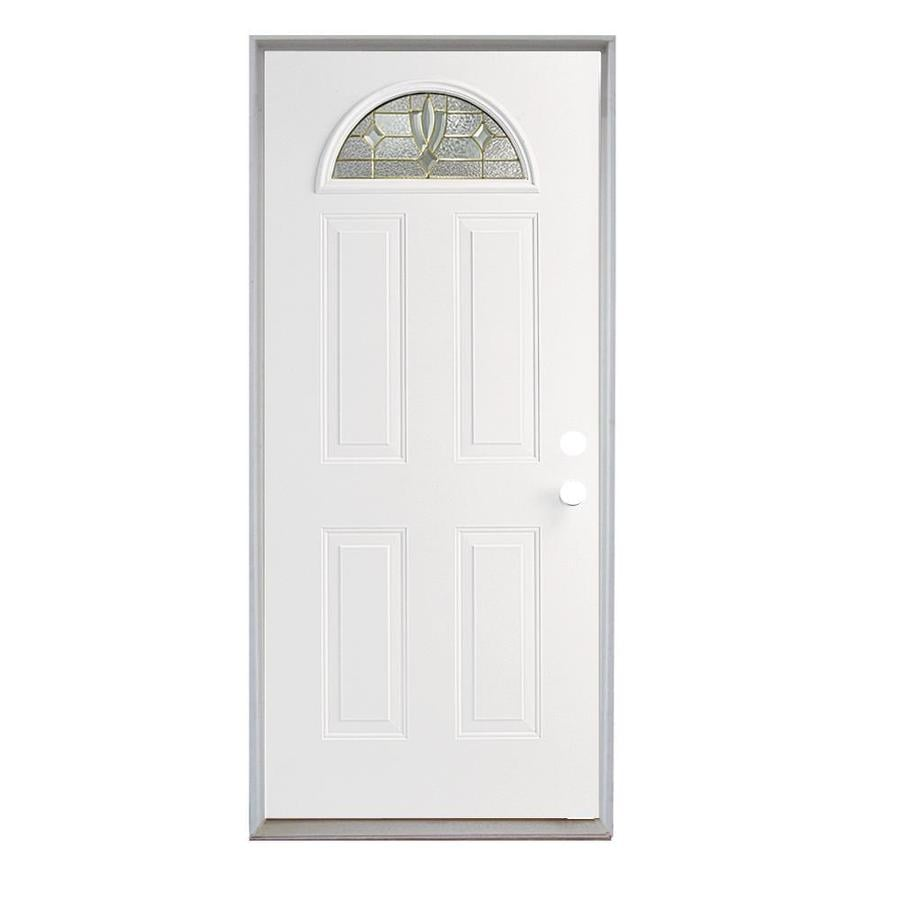 ReliaBilt Laurel 4-Panel Insulating Core Fan Lite Left-Hand Inswing Steel Primed Prehung Entry Door (Common: 36-in x 80-in; Actual: 37.5-in x 81.75-in)