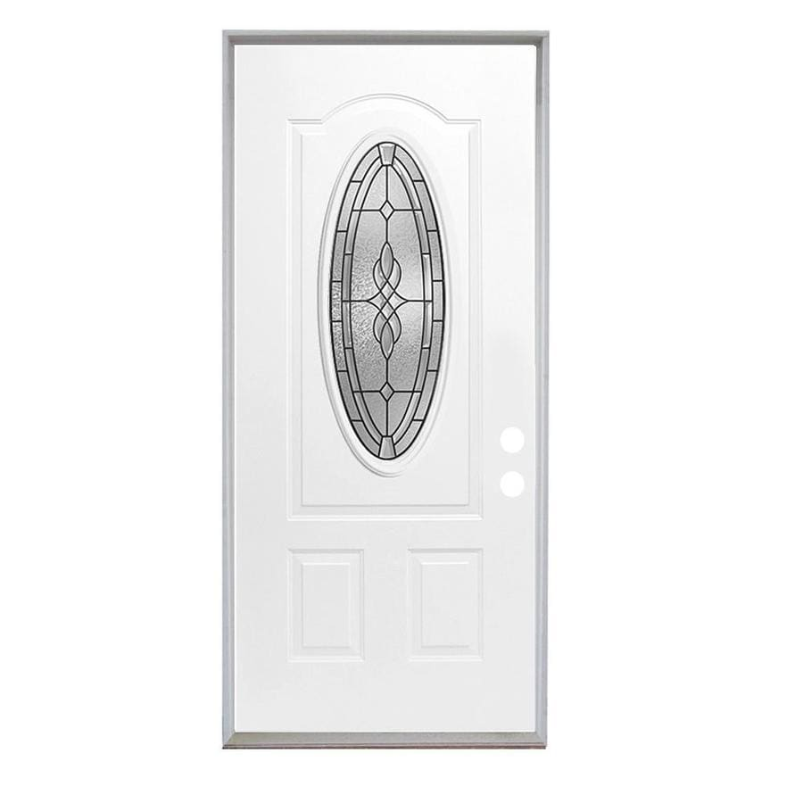 ReliaBilt Hampton French Insulating Core 3/4 Lite Left-Hand Inswing Steel Primed Prehung Entry Door (Common: 36-in x 80-in; Actual: 37.5-in x 81.75-in)