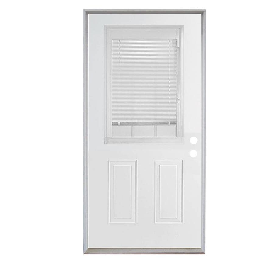 ReliaBilt 2-Panel Insulating Core Blinds and Grilles Between The Glass Half Lite Right-Hand Inswing Steel Primed Prehung Entry Door (Common: 36-in x 80-in; Actual: 37.5-in X