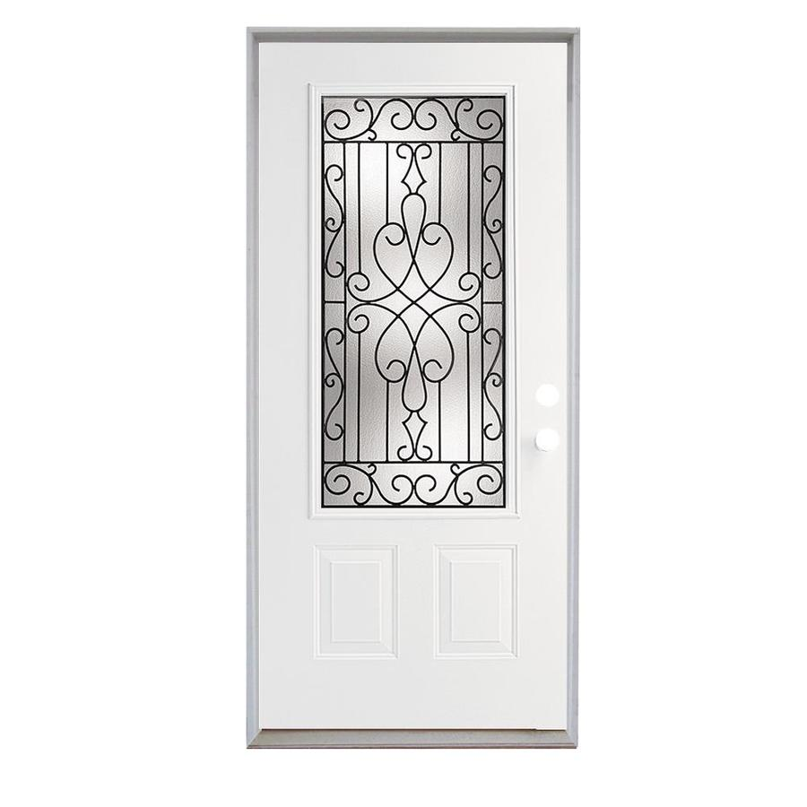 ReliaBilt Wyngate French Insulating Core 3/4 Lite Right-Hand Inswing Steel Primed Prehung Entry Door (Common: 36-in x 80-in; Actual: 37.5-in x 81.75-in)
