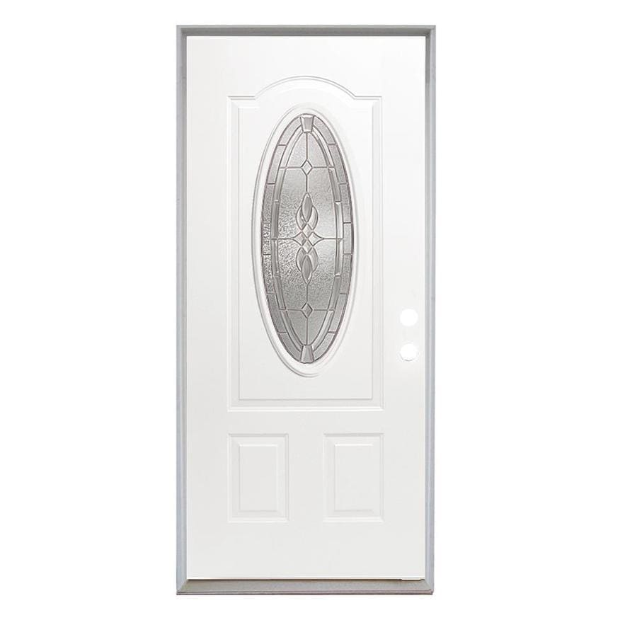 ReliaBilt Laurel French Insulating Core Oval Lite Right-Hand Inswing Steel Primed Prehung Entry Door (Common: 36-in x 80-in; Actual: 37.5-in X