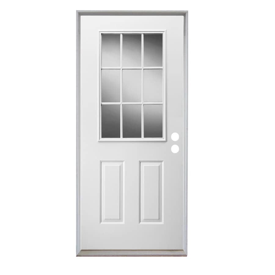 ReliaBilt 2-panel Insulating Core 9-lite Left-Hand Inswing Steel Primed Prehung Entry Door (Common: 32-in x 80-in; Actual: 33.5-in x 81.75-in)