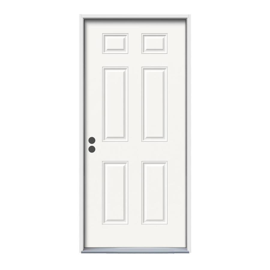 ReliaBilt 6-Panel Insulating Core Right-Hand Inswing Fiberglass Unfinished Prehung Entry Door (Common: 32-in x 80-in; Actual: 33.5-in X