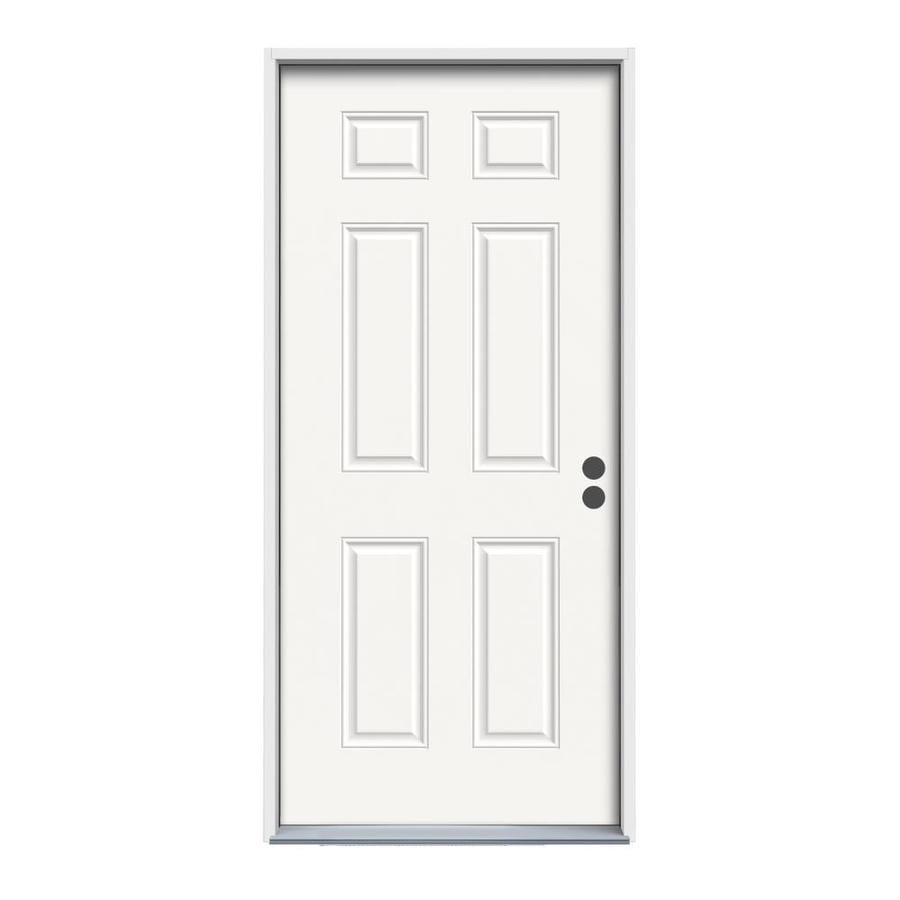 ReliaBilt Left-Hand Inswing Fiberglass Entry Door with Insulating Core (Common: 32-in x 80-in; Actual: 33.5-in x 81.75-in)