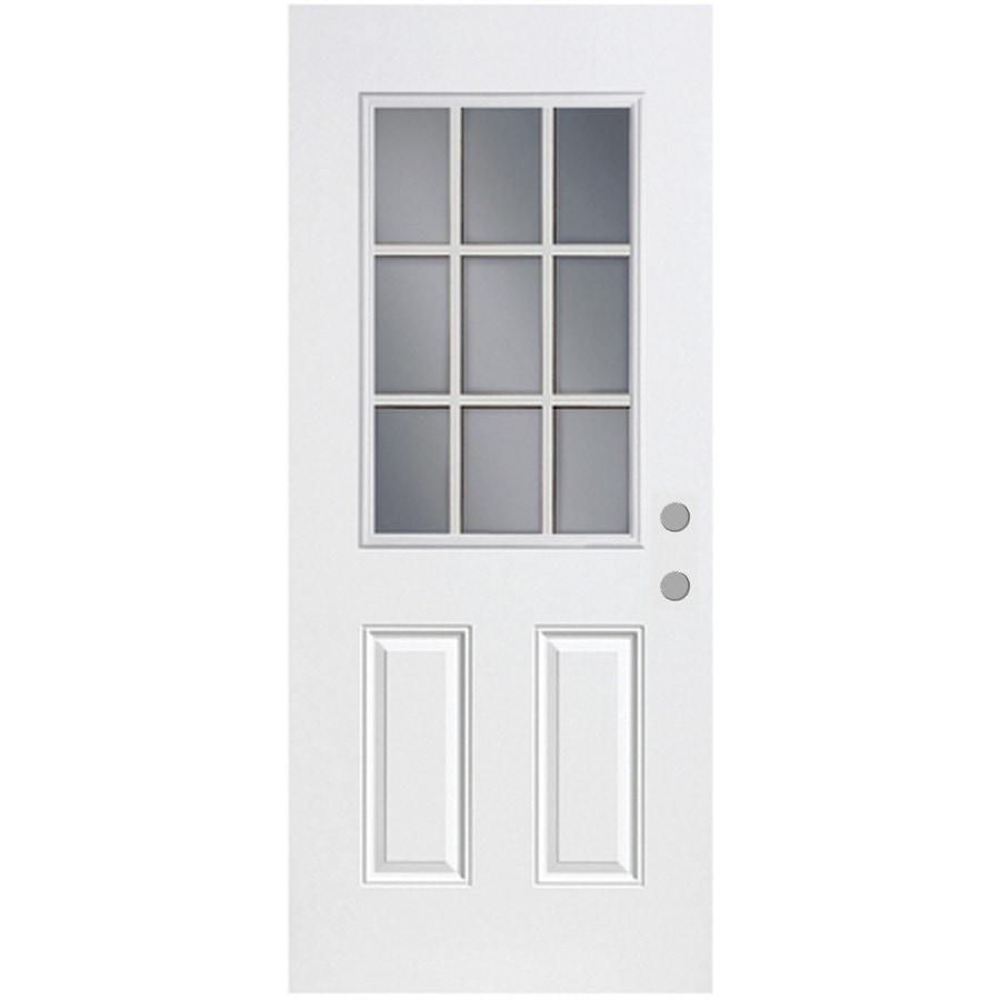 ReliaBilt 2-Panel Insulating Core 9-Lite Left-Hand Inswing Fiberglass Unfinished Prehung Entry Door (Common: 36-in x 80-in; Actual: 37.5-in x 81.75-in)