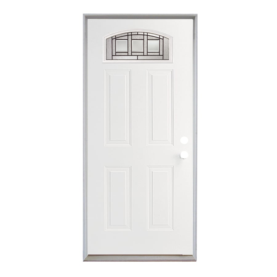 ReliaBilt Craftsman Glass 4-Panel Insulating Core Morelight Left-Hand Inswing Fiberglass Unfinished Prehung Entry Door (Common: 36-in x 80-in; Actual: 37.5-in x 81.75-in)