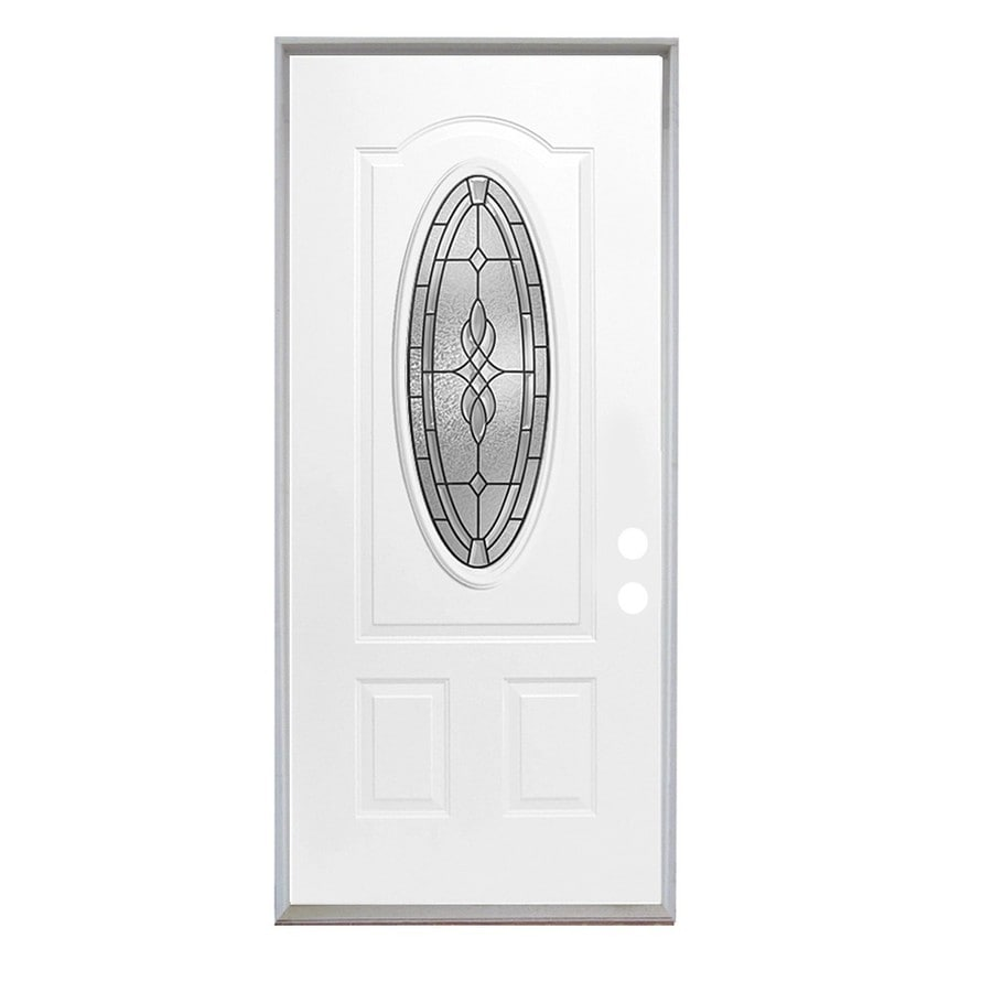 ReliaBilt Hampton French Insulating Core Oval Lite Right-Hand Inswing Fiberglass Unfinished Prehung Entry Door (Common: 36-in x 80-in; Actual: 37.5-in x 81.75-in)