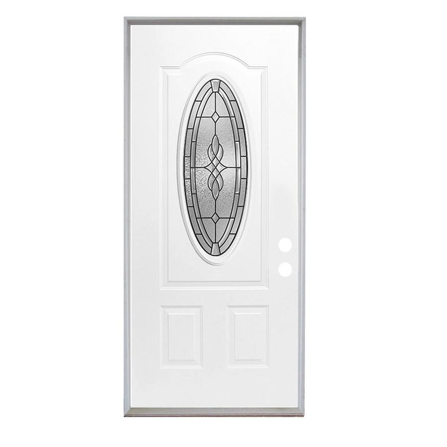 ReliaBilt Hampton 3-Panel Insulating Core Oval Lite Left-Hand Inswing Fiberglass Unfinished Prehung Entry Door (Common: 36-in x 80-in; Actual: 37.5-in x 81.75-in)