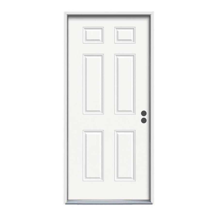 ReliaBilt 6-Panel Insulating Core Left-Hand Inswing Fiberglass Unfinished Prehung Entry Door (Common: 30-in x 80-in; Actual: 31.5-in x 81.75-in)