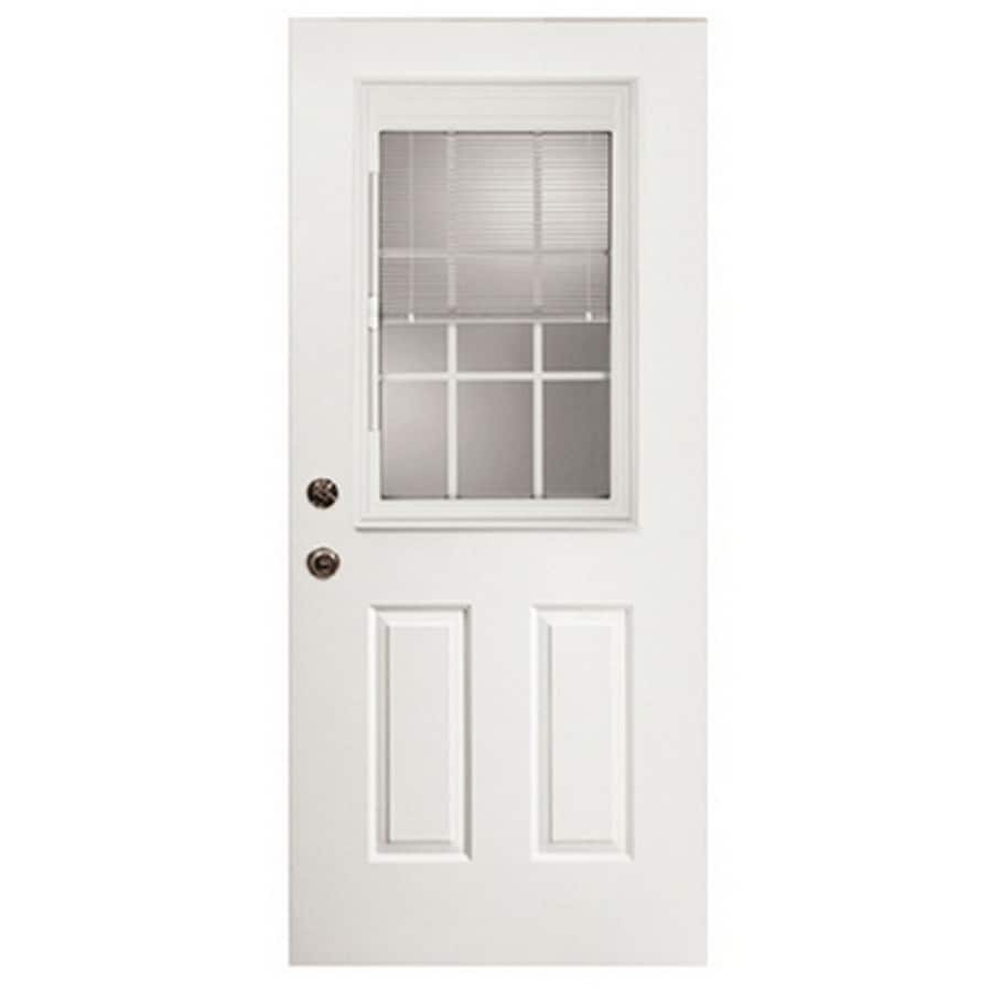 ReliaBilt 2-Panel Insulating Core Blinds and Grilles Between The Glass Half Lite Right-Hand Inswing Fiberglass Prehung Entry Door (Common: 32-in x 80-in; Actual: 33.5-in x 81.75-in)