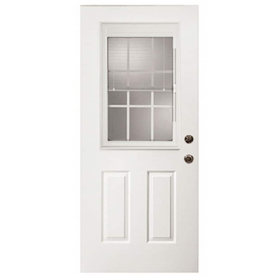 ReliaBilt 2-Panel Insulating Core Blinds and Grilles Between The Glass Half Lite Left-Hand Inswing Fiberglass Prehung Entry Door (Common: 36-in x 80-in; Actual: 37.5-in x 81.75-in)