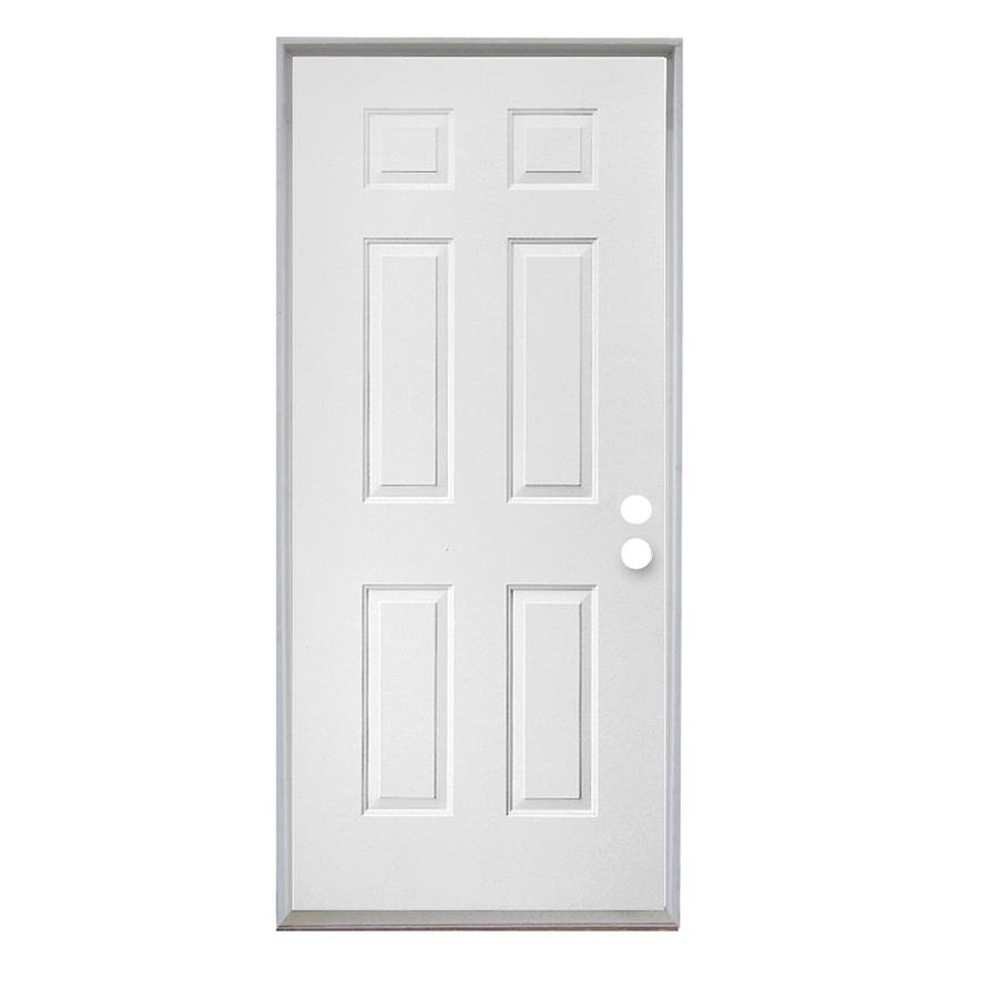 Bon ReliaBilt Left Hand Inswing White Primed Steel Prehung Entry Door With  Insulating Core (Common