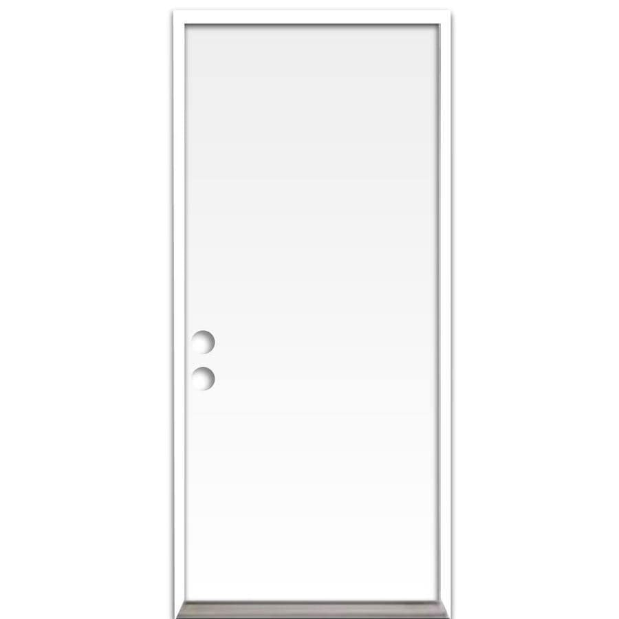ReliaBilt Flush Insulating Core Right-Hand Inswing Steel Primed Prehung Entry Door (Common: 32-in x 80-in; Actual: 33.5-in x 81.75-in)