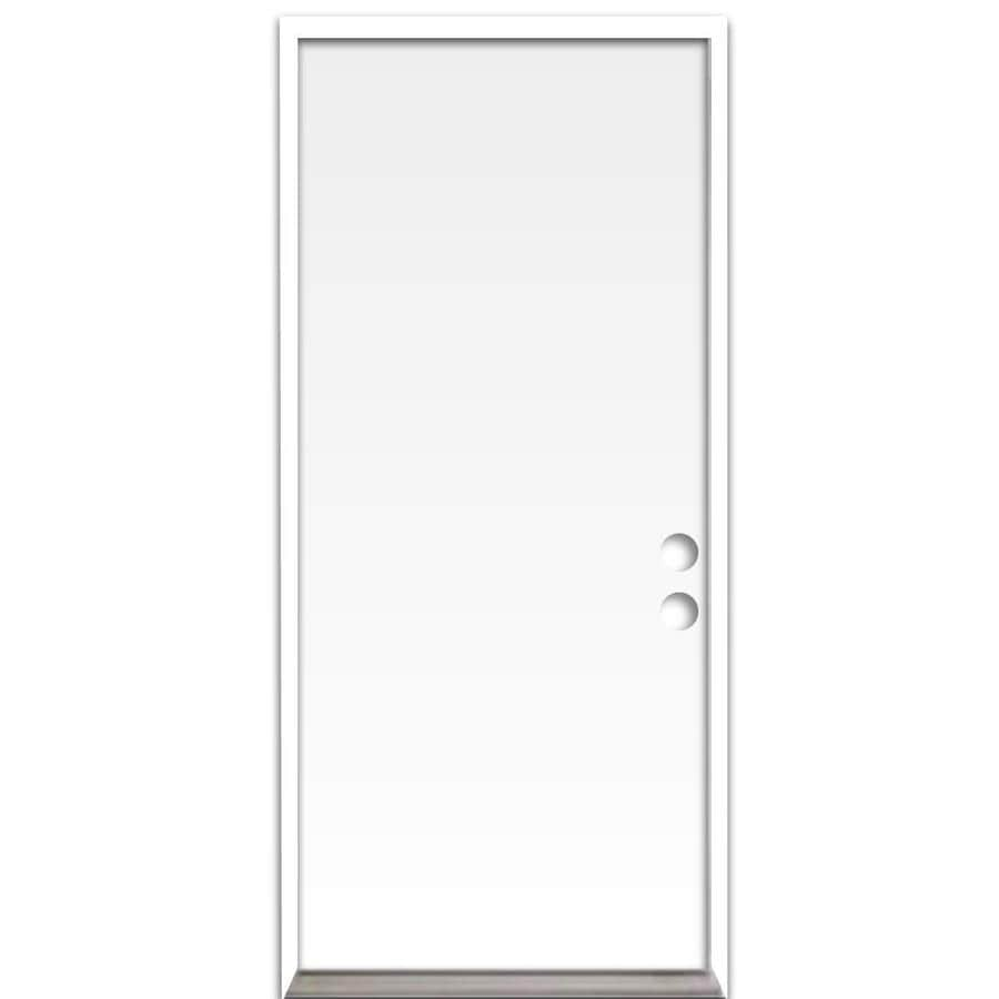 ReliaBilt Flush Insulating Core Left-Hand Inswing Steel Primed Prehung Entry Door (Common: 36-in x 80-in; Actual: 37.5-in x 81.75-in)