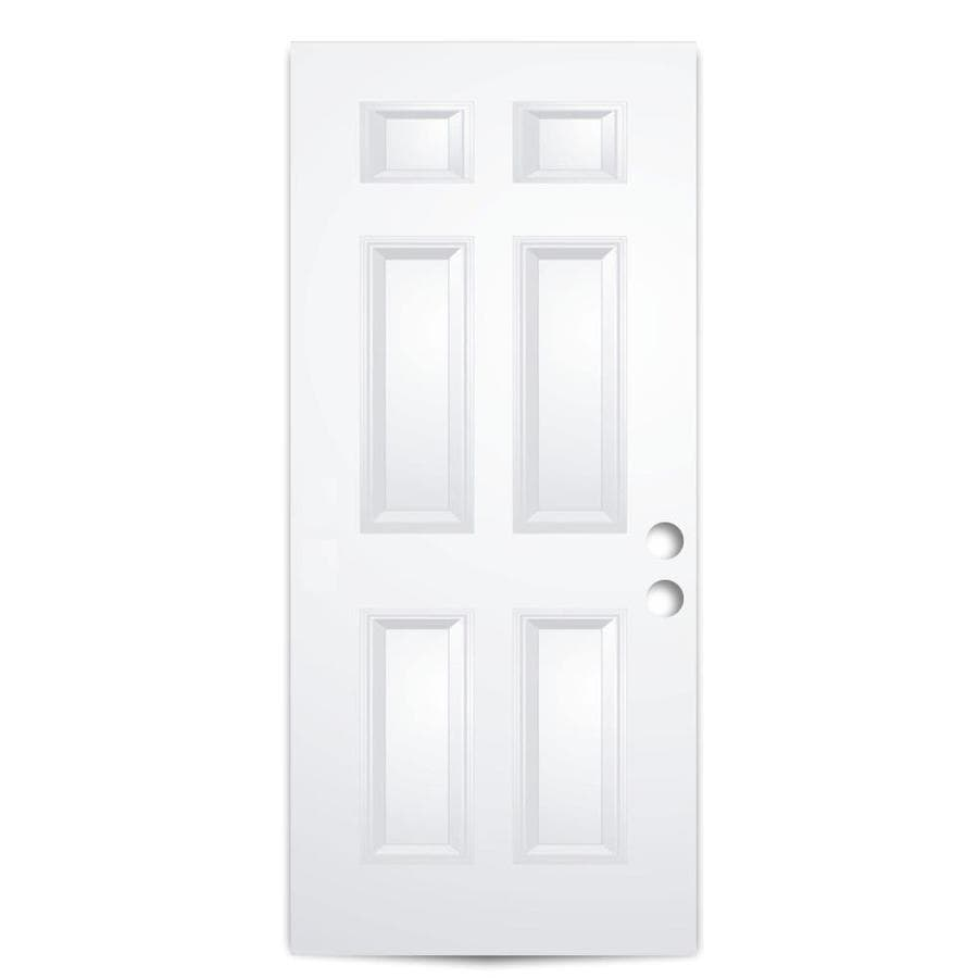ReliaBilt 6-Panel Insulating Core Universal Reversible Steel Primed Slab Entry Door (Common: 32-in x 80-in; Actual: 31.75-in x 79.0625-in)