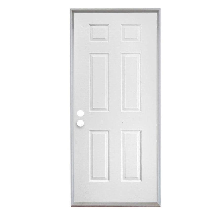 Reliabilt right hand inswing primed steel prehung entry door with insulating core common