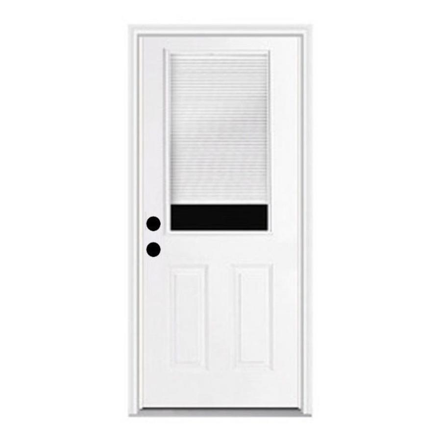 Shop reliabilt 2 panel insulating core blinds between the for Fiberglass entry doors with glass