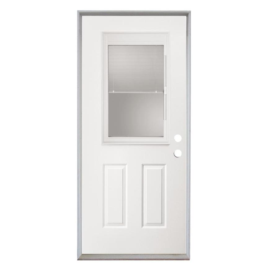 ReliaBilt Half Lite Blinds Between The Glass Left-Hand Inswing Fiberglass Prehung Entry Door Insulating Core (Common: 30-in X 80-in; Actual: 31.5-in x 81.75-in)