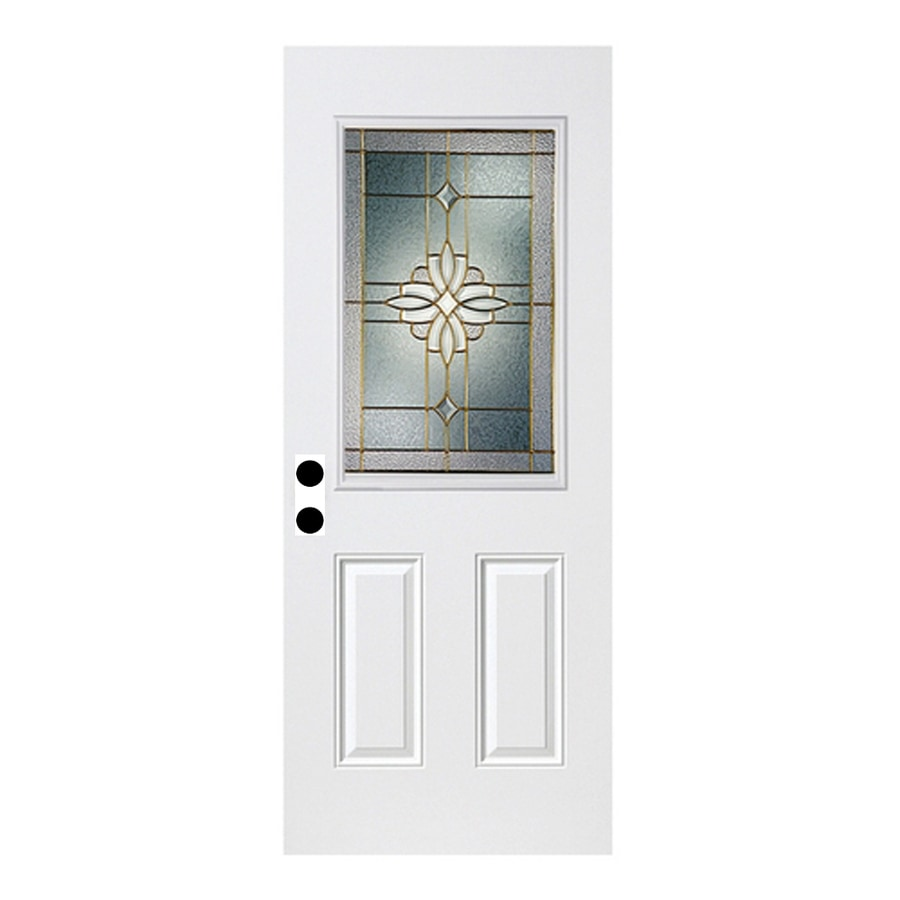 ReliaBilt Laurel French Insulating Core Half Lite Right-Hand Inswing Fiberglass Unfinished Prehung Entry Door (Common: 36-in x 80-in; Actual: 37.5-in x 81.75-in)