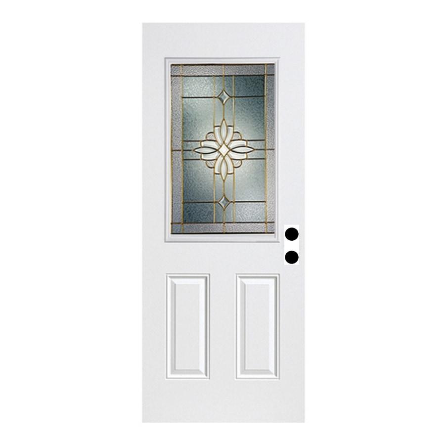 ReliaBilt Laurel French Insulating Core Half Lite Left-Hand Inswing Fiberglass Unfinished Prehung Entry Door (Common: 36-in x 80-in; Actual: 37.5-in x 81.75-in)