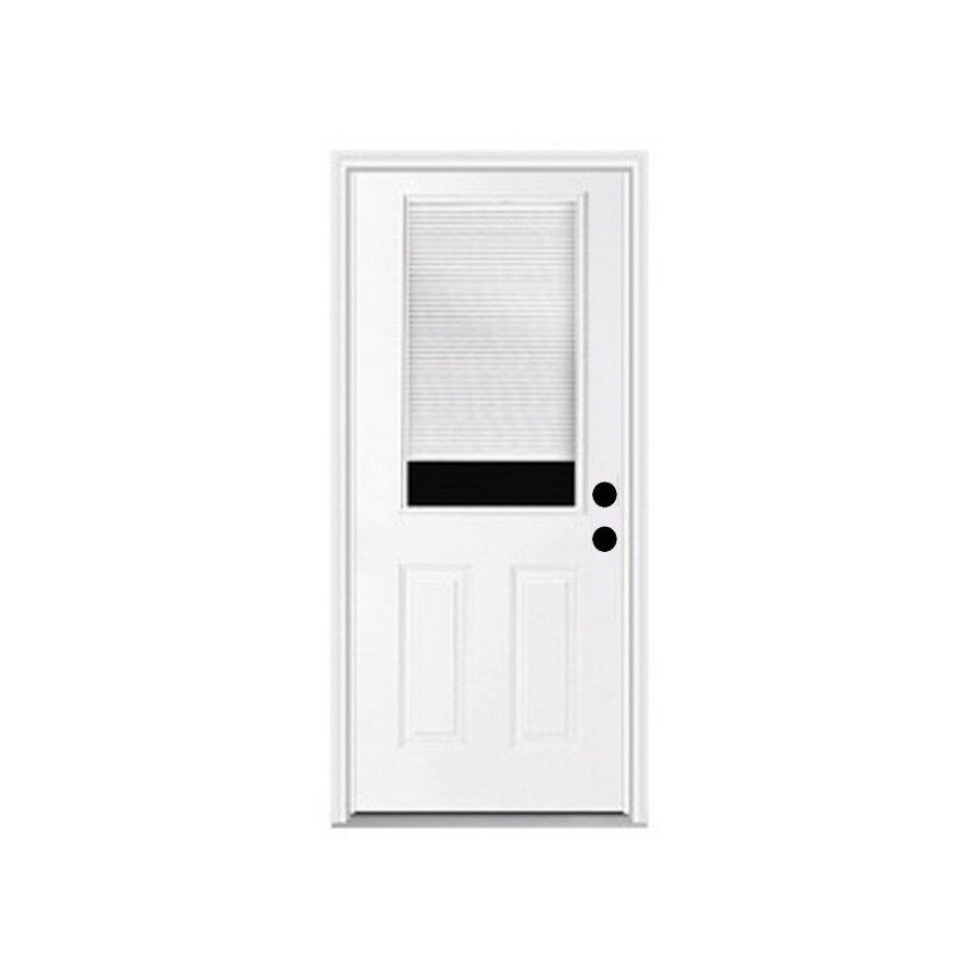 ReliaBilt French Insulating Core Blinds Between The Glass Half Lite Left-Hand Inswing Fiberglass Unfinished Prehung Entry Door (Common: 32-in x 80-in; Actual: 33.5-in x 81.75-in)