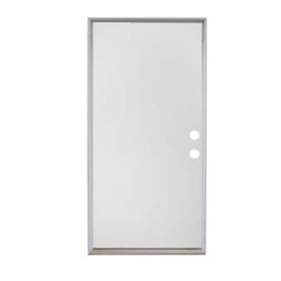 ReliaBilt Flush Insulating Core Left-Hand Inswing Steel Primed Prehung Entry Door (Common: 32-in x 80-in; Actual: 33.5-in x 81.75-in)