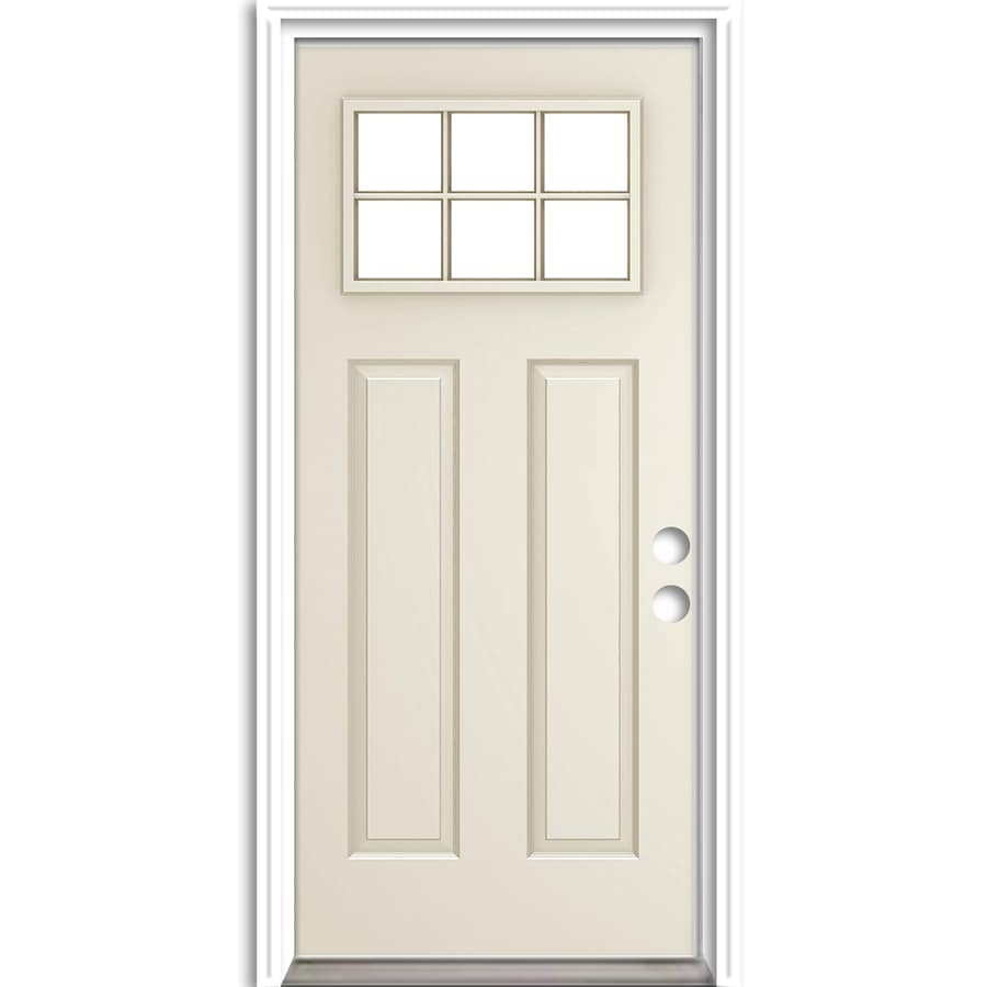 ReliaBilt Craftsman Insulating Core Craftsman 6-Lite Left-Hand Inswing Steel Primed Prehung Entry Door (Common: 36-in x 80-in; Actual: 37.5-in x 81.75-in)