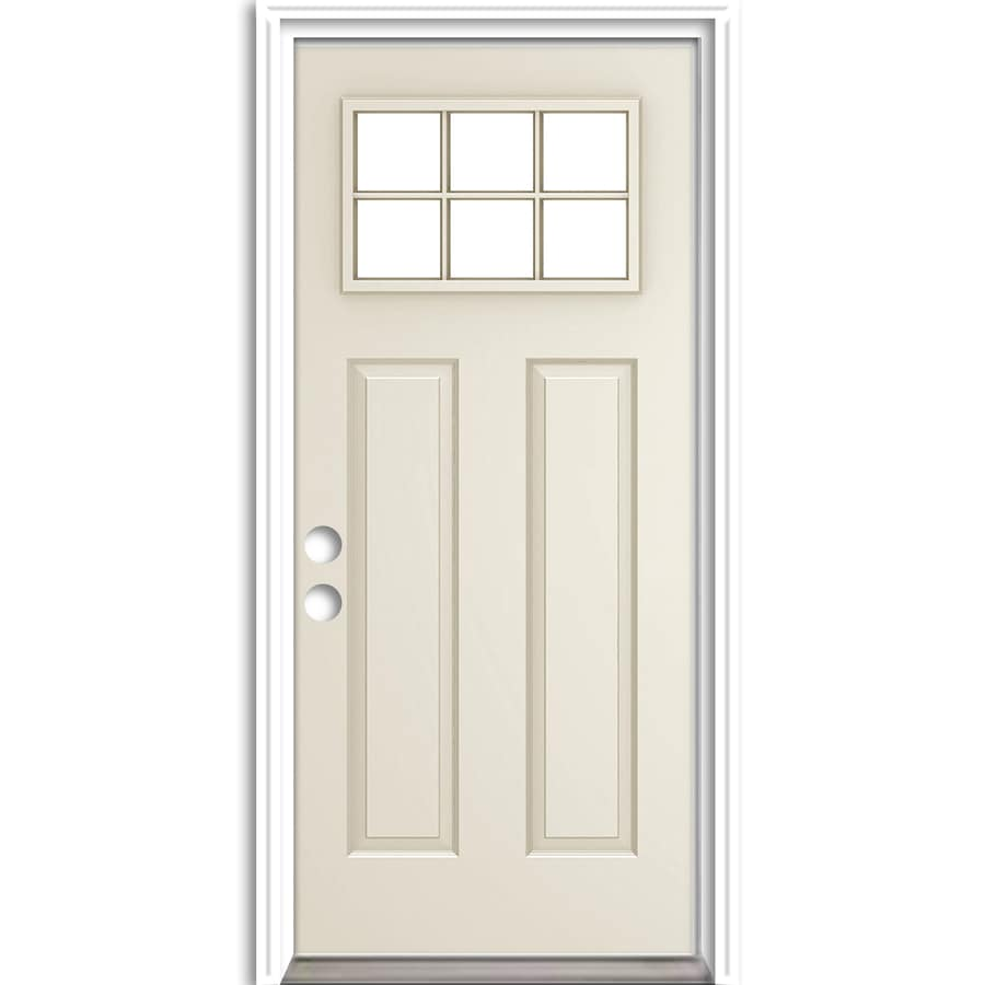 ReliaBilt Craftsman Insulating Core Craftsman 6-Lite Right-Hand Inswing Steel Primed Prehung Entry Door (Common: 36-in x 80-in; Actual: 37.5-in x 81.75-in)