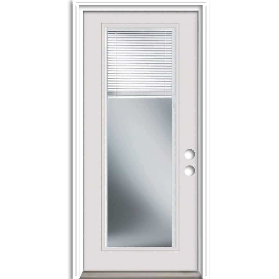 ReliaBilt Full Lite Blinds Between the Glass Right-Hand Inswing Primed Steel Prehung Entry Door with Insulating Core (Common: 32-in X 80-in; Actual: 33.5-in x 81.75-in)