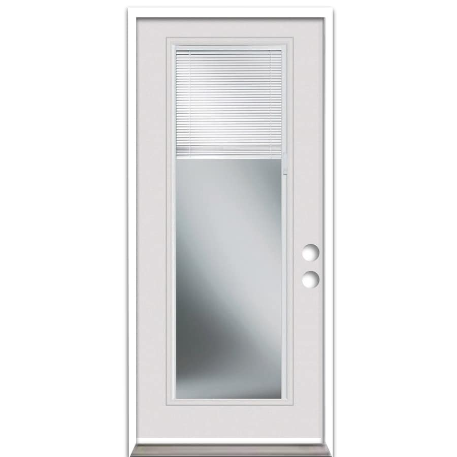 ReliaBilt 1-panel Insulating Core Blinds Between The Glass Full Lite Universal Reversible Steel Primed Prehung Entry Door (Common: 32-in x 80-in; Actual: 32-in x 81.5-in)