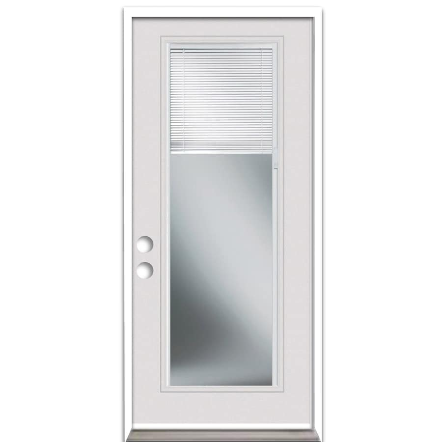 ReliaBilt French Insulating Core Blinds Between The Glass Full Lite Left-Hand Inswing Steel Primed Prehung Entry Door (Common: 36-in x 80-in; Actual: 37.5-in X