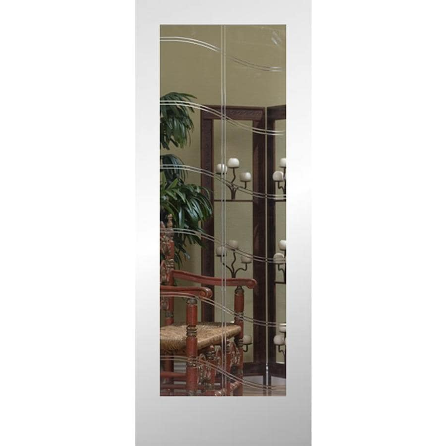 ReliaBilt Full Lite Etched Glass Pine Slab Interior Door (Common: 24-in X 80-in; Actual: 24-in x 80-in)