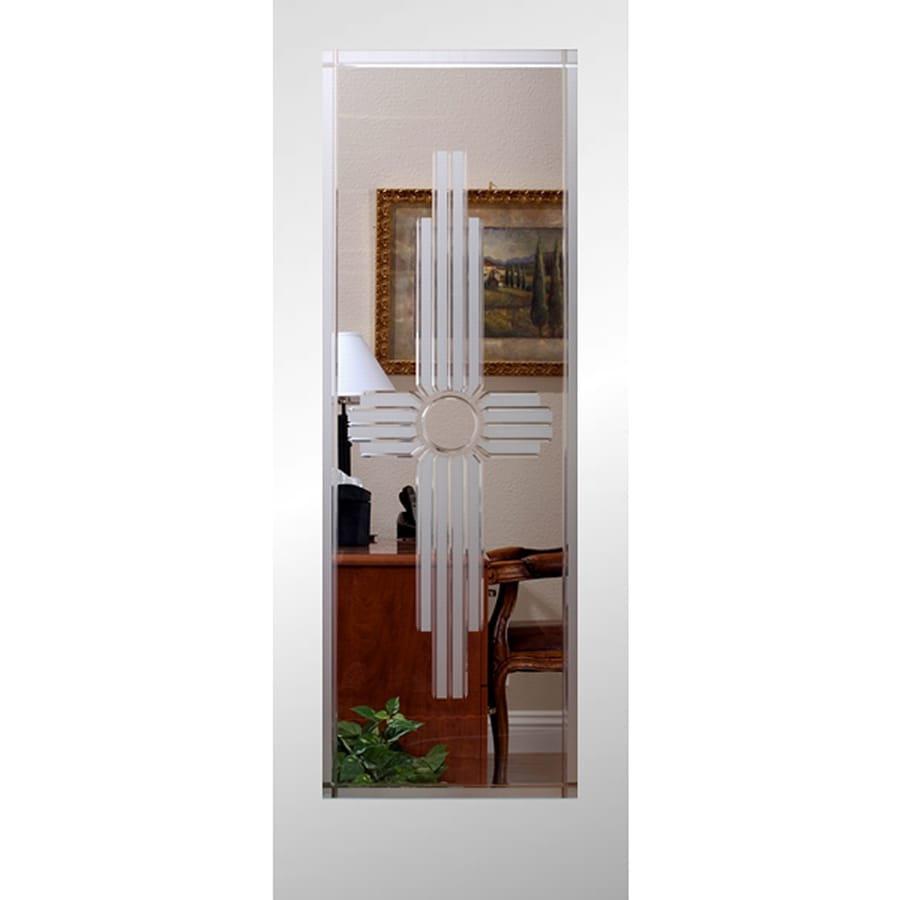 Reliabilt white 1 panel solid core etched glass wood slab door common 24 in x 80 in actual for Reliabilt decorative glass interior doors