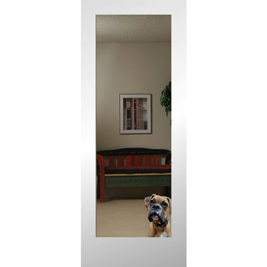 Reliabilt Reflection White 1 Panel Solid Core Mirrored Gl Wood Slab Door Common 24 In X 80 Actual