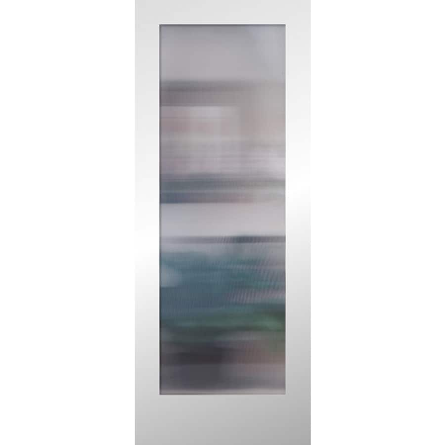Shop Reliabilt Primed 1 Panel Solid Core Patterned Glass Wood Slab Door Common 24 In X 80 In