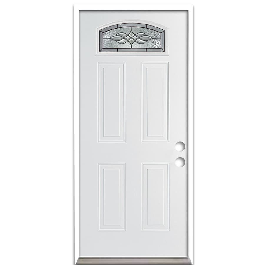 ReliaBilt Hampton Center Arch Lite Decorative Glass Left-Hand Inswing Primed Fiberglass Prehung Entry Door with Insulating Core (Common: 36-in X 80-in; Actual: 37.5-in x 81.75-in)