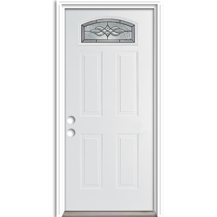 ReliaBilt Hampton French Insulating Core Morelight Right-Hand Inswing Fiberglass Unfinished Prehung Entry Door (Common: 36-in x 80-in; Actual: 37.5-in x 81.75-in)