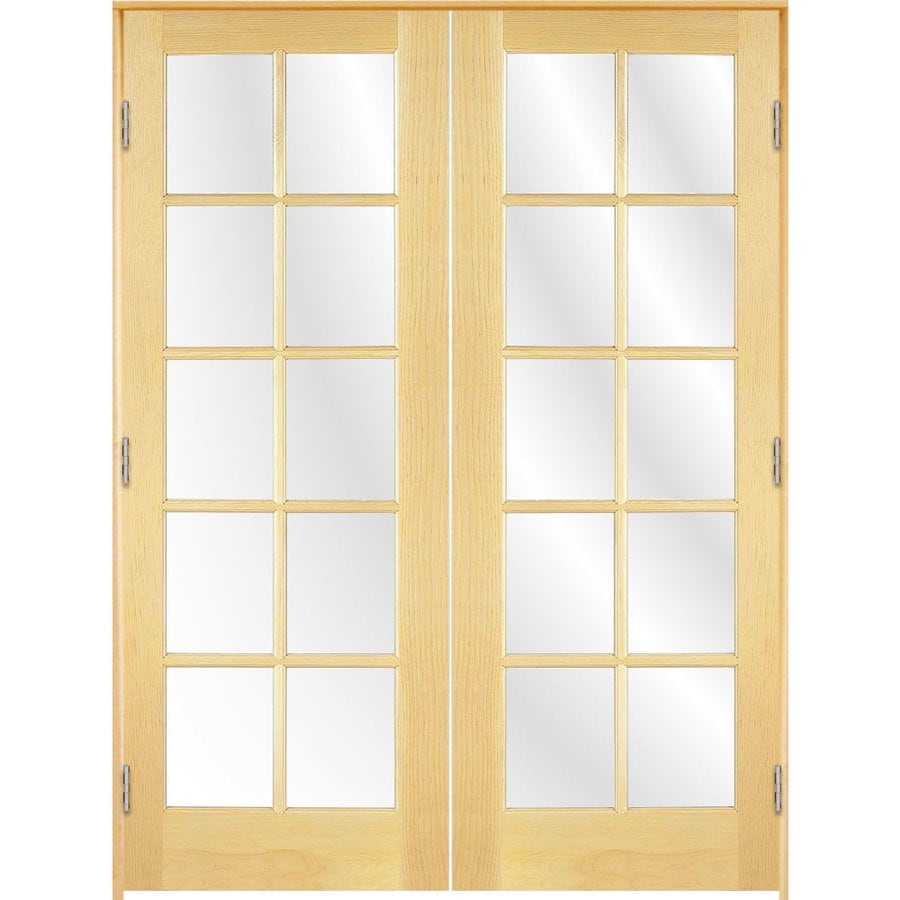 Shop reliabilt unfinished solid core clear glass wood pine for Wooden french doors