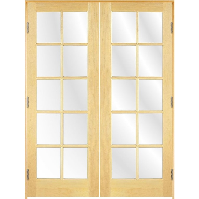 Reliabilt 10 Lite 60 In X 80 In Unfinished Clear Glass Unfinished Pine Wood Interior French Door In The French Doors Department At Lowes Com