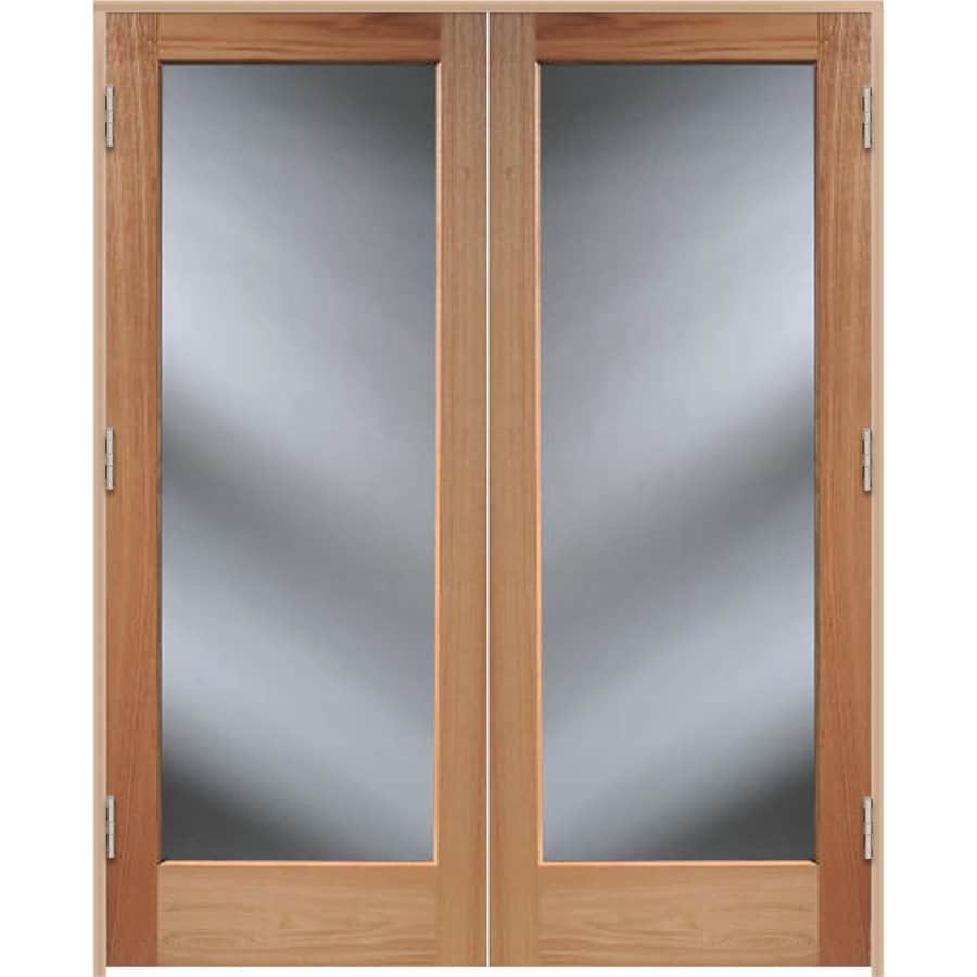 Shop reliabilt unfinished solid core clear glass wood oak for Wooden french doors