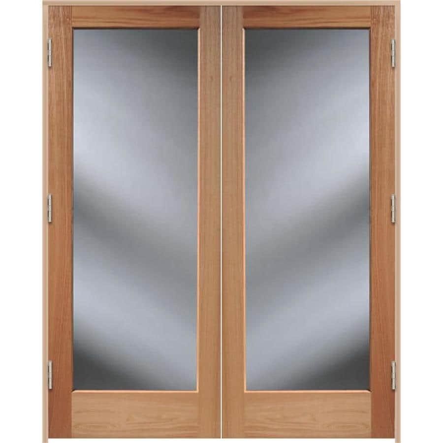 Shop Reliabilt Brown Solid Core Clear Glass Wood Oak French Door