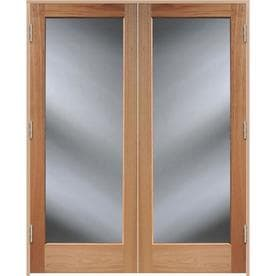 ReliaBilt Brown Solid Core Clear Glass Wood Oak French Door (Common: 60 In