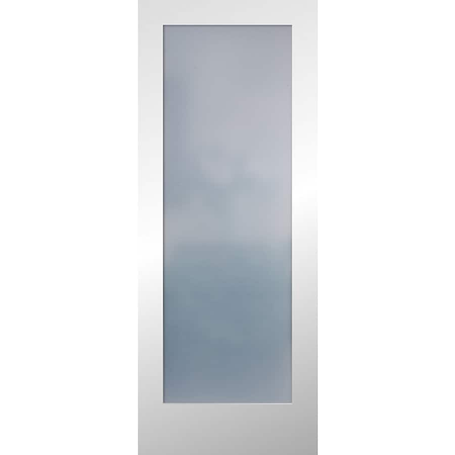 Reliabilt White Flush Frosted Glass Wood Slab Door Common