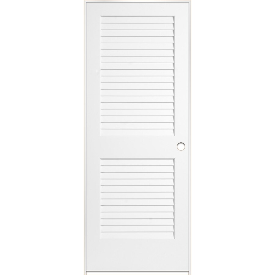 Shop Reliabilt White Plantation Louver Pine Single Prehung Interior Door Common 24 In X 80 In